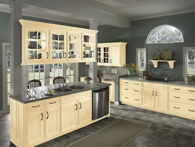 Kitchen Example Displaying The Armstrong Cabinet Style Caruth With Vanilla Cream Finish
