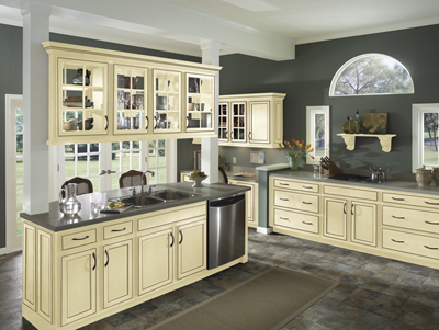 Kitchen Example Displaying The Armstrong Cabinet Style Caruth With Vanilla Cream Brown Glaze Finish