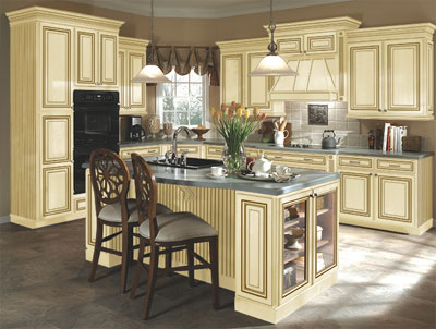 kitchen example displaying the cabinet style with vanilla cream caramel glaze finish cabinets what colour walls white trim