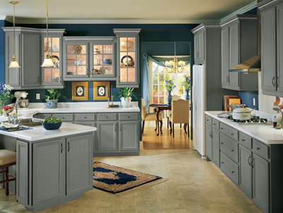 Kitchen Example Displaying The Armstrong Cabinet Style Siena With The Slate  Finish