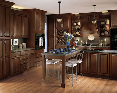 Charming Kitchen Example Displaying The Armstrong Cabinet Style Tiara With The Mocha  Brown Glaze Finish