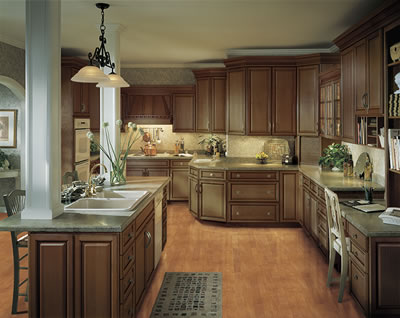 Kitchen Example Displaying The Armstrong Cabinet Style Waverly With The  Mocha Brown Glaze Finish