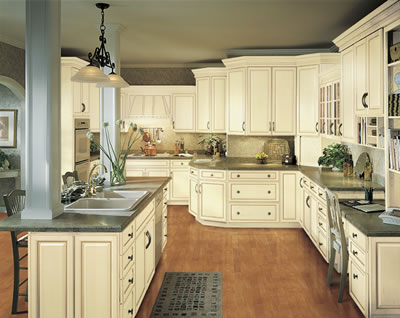Kitchen Example Displaying The Armstrong Cabinet Style Waverly With Vanilla Cream Caramel Glaze Finish