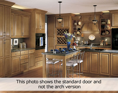 Kitchen Example Displaying The Armstrong Cabinet Style Tiara Arch With The Toffee Caramel Glaze Finish