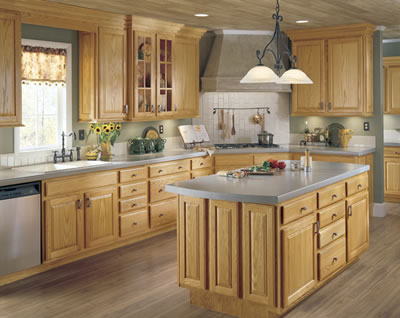Kitchen Example Displaying The Armstrong Cabinet Style Hampton With The  Honey Finish