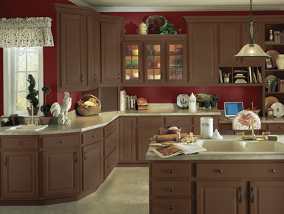 Kitchen Example Displaying The Armstrong Cabinet Style Tuscany With The  Autumn Brown Finish