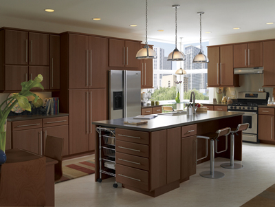 Kitchen Example Displaying The Armstrong Cabinet Style Calibra II With The  Autumn Brown Finish