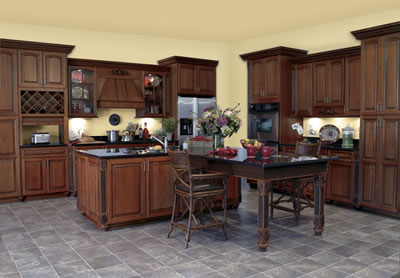 Kitchen Example Displaying The Armstrong Cabinet Style LaCerise Arch With  The Cordovan Brown Glaze Finish